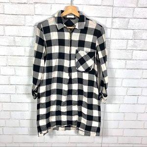 Zara Buffalo Check Plaid Shirt Dress